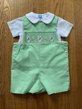 Anavini Hand Smocked Green Bunny Shortall White Shirt Peter Pan Collar 3M