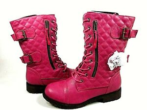 DailyShoes Women's Military Lace Up Buckle Combat Pink Boots,US Size 7.5,New