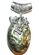 P1882L2 Abalone Shell 68mm Oval Drop Pendant with Silver Flower Brass Setting
