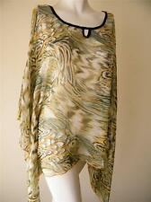 LADIES SIZE SMALL GREEN PAISLEY KAFTAN SHEER TOP NEW WITH TAGS ICE BRAND