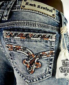 """$180 Buckle Rock Revival """"Sherry"""" Volcano Stitch Leather Inserts Skinny 30 X 27"""