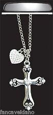 Silver Cross with Crystal Heart Rear View Mirror Auto Car Ornament