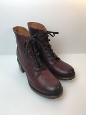 Frye Dark Red Leather Womens Heeled Combat Boot Size 10M