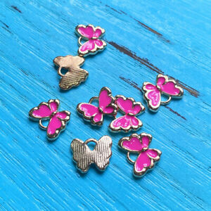 6pcs 10x13mm Drop Oil Pink butterfly charms Gold Tone Making Jewelry