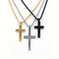 Unisex Stainless Steel Cross Pendant Necklace Chain Jewelry Punk Gift 2021 Hot