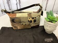 Coach Patchwork Brown Suede/Leather Pouchette