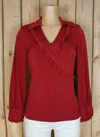 BISOU BISOU Womens Size Small Petite Long Sleeve Shirt Vneck Ruffle Red Poly Top