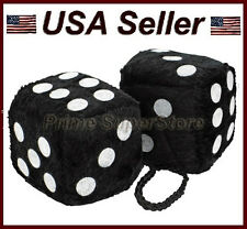 New Quality Pair Hanging Fuzzy Dice in Black/White dots SZ 2-1/8 Rearview mirror