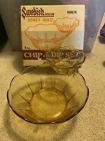 Vintage Anchor Hocking Glass Swedish Modern Honey Gold Chip & Dip Set Complete