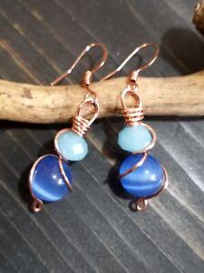 UNIQUE SMALL PRETTY BLUE CATEYE BEAD/LT BLUE MILKGLASS/COPPER WIRE WRAP EARRINGS