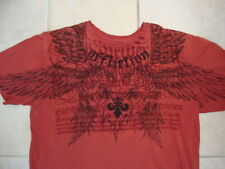 Affliction Angel Wings Front and Back Designer Soft Tattered Red T Shirt XL