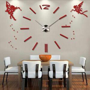3D DIY Modern Large Wall Clock Angels Oversized Stylish Acrylic Home Decor Gift