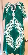 Green Tie Dye Caftan Embroidered Maxi Full Dress M Short Sleeves Tribal Modest