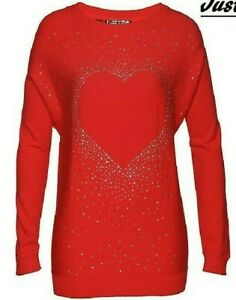 New Red SPARKLY HEART Valentines EMBELLISHED Jumper Top PLUS SIZE 20-22 CURVE