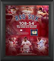 Red Sox Framed 15x17 Most Wins in Franchise History Collage & Piece of GU Ball