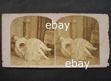 Stereoview1850-1860stereo card BALLET DANCER woman 3D sleep photo not naked nude