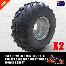 "Pair of 16x8-7"" Wheel Tyre/Tire with Rim Buggy Ride on Mower ATV Quad Bike TDR"