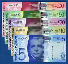 More details for rare! uncirculated first prefix low number bank of scotland 2007 bridge full set