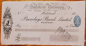 Halstead Brewery cheque