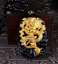 18K Yellow Gold Inlay Natural Obsidian Carved Dragon Pendant + Beads Necklace