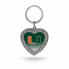 Miami Hurricanes Keychain NCAA Rhinestone Heart Key Ring