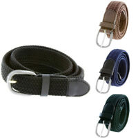 """7001 Men's Leather Covered Buckle Woven Elastic Stretch Belt 1-1/4"""" Wide NEW"""