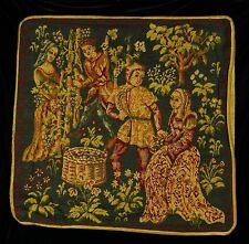 "Piped TAPESTRY SCATTER CUSHION Cover - TWO COUPLES  42cm  17"" Medieval Design"