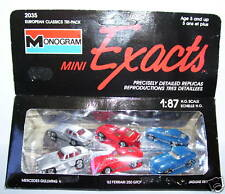 3 EXACTS MONOGRAM HO 1/87 MERCEDES GULLWING FERRARI 250 GTO JAGUAR XKE IN BOX