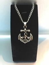 "21"" Mens Stainless Steel Chain Curb Cuban Necklace Black Silver Anchor Pendant"