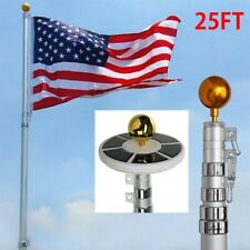 25ft Flag Pole Kit Telescopic Aluminum Flagpole 2 Flag Kit 26 Leds Solar Lights