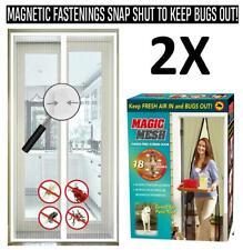 2 x Magnetica Magic Mesh tenda Schermo Netto Fly Bug Zanzara Insetti Porta NUOVO con scatola