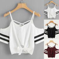 Women Summer Casual Cold Shoulder Short Sleeve V Neck T-shirt Tops Short Blouse