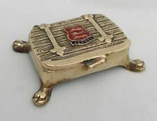 Vintage BRASS TRINKET / STAMP BOX Nib Chest JERSEY ENAMEL CREST Peerage England