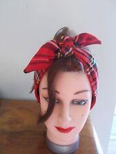 Fascia per capelli Tartan Rosso Rockabilly Grande Royal Stewart Swing Land Ragazza Self Cravatta