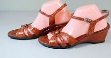 MEPHISTO Croc Leather Ankle Strap Sandals Wedge Heels Shoes EU 42 US 11.5 $270