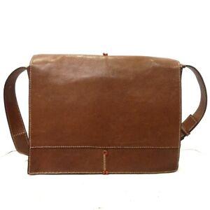 Auth HENRY CUIR Brown Leather Shoulder Bag