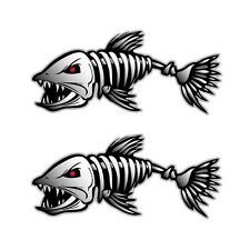 2* Fish Skeleton Decals Sticker Fishing Boat Canoe Kayak Graphics Personality