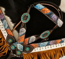 Showman DARK Leather Headstall and Breast Collar Set With Painted Leaf Design!