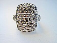 STERLING SILVER and Marcasite Domed Ring SIZE 8