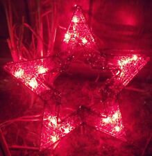 CHRISTMAS LIGHTED RED MESH WIRE TINSEL STAR SILHOUETTE TREE TOPPER WEDDING DECOR