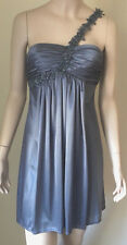 Morgan & Co Party Cocktail Dress Size XS Gray One Shoulder Beads Sequins