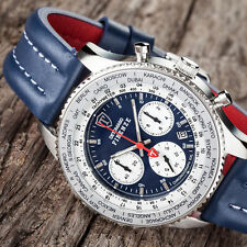 DETOMASO FIRENZE XXL Men's Watch Chronograph Blue Stainless Steel Leather New(52
