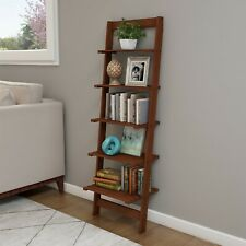 Five Tier Ladder Style Wooden Storage Bookshelf Display Brown Walnut Finish
