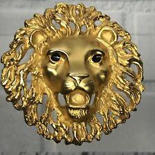 Vtg Doreen Ryan Gold Tone Lion Head Brooch Or Belt Buckle - Repaired?