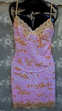 PETER ALEXANDER~Stretch Slip Chemise~Slinky Nightie~FLORAL Peach Lace~M~FreeShip