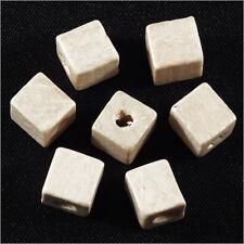 Lot de 40 Perles Cubes en Bois 8mm Blanc