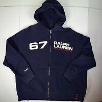 Polo Jeans Ralph Lauren vtg Sewn 67 Hooded Sweatshirt Sz L Full Zip RL Fleece