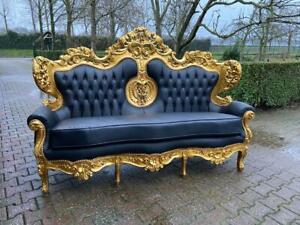 Beautiful Italian style  Barok Sofa in black leather 1920