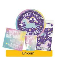 UNICORN Birthday Party Range Tableware, Banners, Balloons & Decorations (UNIQUE)