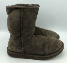 UGG Australia Classic Short Chocolate Suede Sheepskin Boots Womens Size 8
